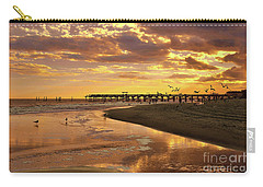Sunset And Gulls Carry-all Pouch by Kathy Baccari