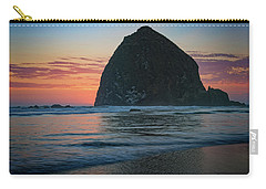 Carry-all Pouch featuring the photograph Sunset At Haystack Rock by Rick Berk