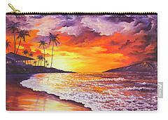 Carry-all Pouch featuring the painting Sunset At Kapalua Bay by Darice Machel McGuire