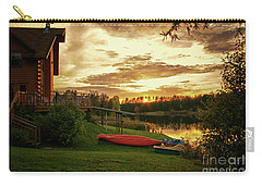 Sunset At Lakeside Lodge Carry-all Pouch by Lynn Bolt