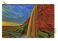 Carry-all Pouch featuring the photograph Sunset At The Falls by Scott Mahon