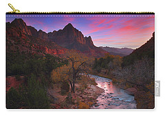 Sunset At The Watchman During Autumn At Zion National Park Carry-all Pouch
