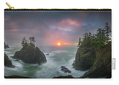 Carry-all Pouch featuring the photograph Sunset Between Sea Stacks With Trees Of Oregon Coast by William Lee