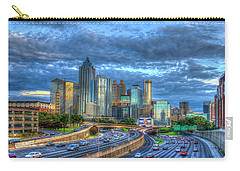 Carry-all Pouch featuring the photograph Sunset Blue Glass Reflections Atlanta Downtown Cityscape Art by Reid Callaway