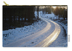 Sunset By An Icy Country Road Carry-all Pouch