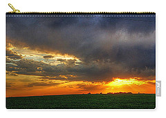 Sunset Fire On A Nebraska Field Carry-all Pouch by Karen McKenzie McAdoo