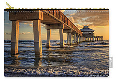 Carry-all Pouch featuring the photograph Sunset Fort Myers Beach Fishing Pier by Edward Fielding