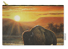 Sunset In Bison Country Carry-all Pouch by Kim Lockman
