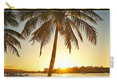 Carry-all Pouch featuring the photograph Sunset Lovers Under Palm Tree And Down By The River by Keiran Lusk