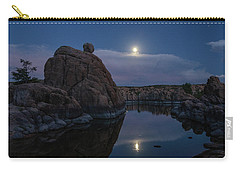 Carry-all Pouch featuring the photograph Sunset Moon Reflection by Gaelyn Olmsted