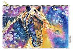 Carry-all Pouch featuring the painting Sunset Mustang by Zaira Dzhaubaeva
