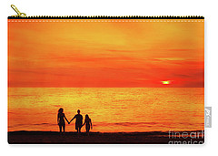 Carry-all Pouch featuring the digital art Sunset On The Beach by Randy Steele
