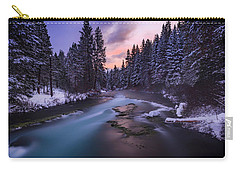 Carry-all Pouch featuring the photograph Sunset On The Metolius by Cat Connor