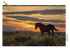 Sunset On The Mustang Carry-all Pouch by Jack Bell