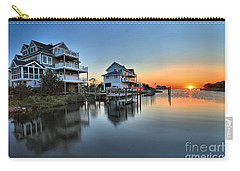 Sunset On The Obx Sound Carry-all Pouch by Adam Jewell