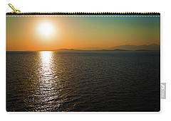 Carry-all Pouch featuring the photograph Sunset Over Aegean Sea by Milena Ilieva