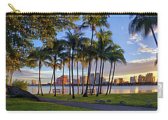 Sunset Over Downtown West Palm Beach From Palm Beach Island Carry-all Pouch by Justin Kelefas
