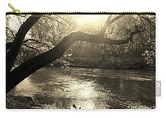 Sunset Over Flat Rock River - Southern Indiana - Sepia Carry-all Pouch
