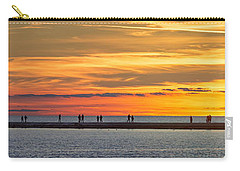 Carry-all Pouch featuring the photograph Sunset Over Ludington Panoramic by Adam Romanowicz