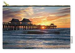 Carry-all Pouch featuring the photograph Sunset Over Naples Pier by Brian Jannsen