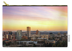 Sunset Over Portland Cityscape And Mt Hood Carry-all Pouch