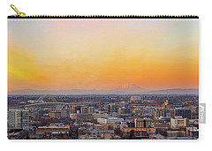 Sunset Over Portland Cityscape And Mt Saint Helens Carry-all Pouch