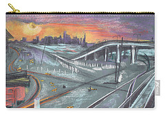 Carry-all Pouch featuring the painting Sunset Over San Francisco And Oakland Train Tracks by Asha Carolyn Young