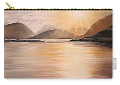 Carry-all Pouch featuring the painting Sunset Over Scottish Loch by Elizabeth Lock