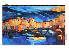Sunset Over The Village 2 By Elise Palmigiani Carry-all Pouch by Elise Palmigiani
