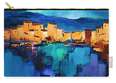 Sunset Over The Village 3 By Elise Palmigiani Carry-all Pouch by Elise Palmigiani