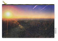 Carry-all Pouch featuring the photograph Sunset Over Wisconsin Treetops At Lapham Peak  by Jennifer Rondinelli Reilly - Fine Art Photography