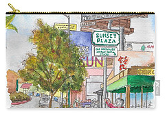 Sunset Plaza, Sunset Blvd., And Londonderry, West Hollywood, California Carry-all Pouch by Carlos G Groppa