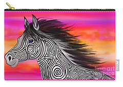 Carry-all Pouch featuring the painting Sunset Ride Tribal Horse by Nick Gustafson