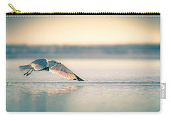 Carry-all Pouch featuring the photograph Sunset Seagull Takeoffs by T Brian Jones