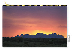 Carry-all Pouch featuring the photograph Sunset Silhouette Of Kata Tjuta In The Northern Territory by Keiran Lusk