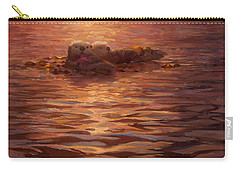 Sunset Snuggle - Sea Otters Floating With Kelp At Dusk Carry-all Pouch