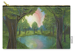 Carry-all Pouch featuring the mixed media Sunset Through Trees by Angela Stout