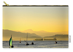 Sunset With Green Sailboat Carry-all Pouch