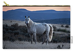 Sunset With Wild Stallion Tripod In Sand Wash Basin Carry-all Pouch