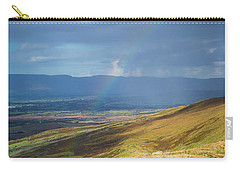 Carry-all Pouch featuring the photograph Sunshine And Raining Down With Rainbow On The Countryside In Ire by Semmick Photo