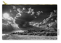Sunshine On Sanibel Island In Black And White Carry-all Pouch by Chrystal Mimbs