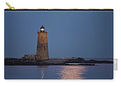 Super Moon Over Whaleback Lighthouse Carry-all Pouch by Betty Denise