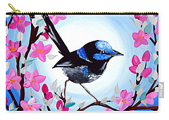 Superb Fairy Wren Carry-all Pouch by Cathy Jacobs