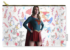 Carry-all Pouch featuring the mixed media Supergirl Splash Super Hero Series by Movie Poster Prints