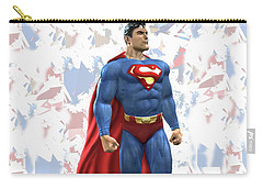 Carry-all Pouch featuring the mixed media Superman Splash Super Hero Series by Movie Poster Prints