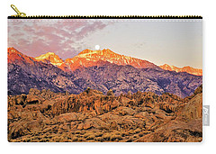 Supermoon Setting At Sunrise Over Mount Williamson In The Sierra Nevada Mountains Carry-all Pouch
