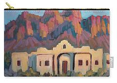 Carry-all Pouch featuring the painting Superstition Mountain Evening by Diane McClary