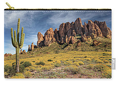 Carry-all Pouch featuring the photograph Superstition Mountains Saguaro by James Eddy