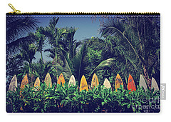 Carry-all Pouch featuring the photograph Surf Board Fence Maui Hawaii Vintage by Edward Fielding