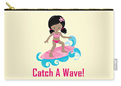 Surfer Art Catch A Wave Girl With Surfboard #20 Carry-all Pouch